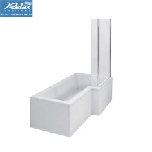 Square L-Shaped Shower Bath With Screen