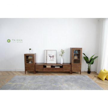 Dark Brown Solid Rubber Wood TV Unit