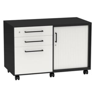 Metal mobile caddy with tambour door