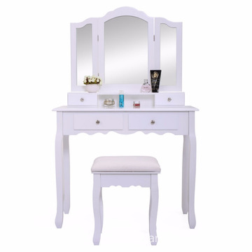White Vanity Makeup Dressing Table Set Stool 4 Drawer Mirror Wood Desk