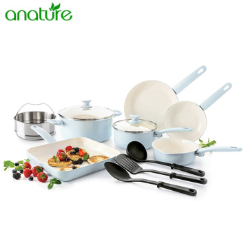 Ceramic Nonstick Kitchen Cookware Set with Cooking Utensils