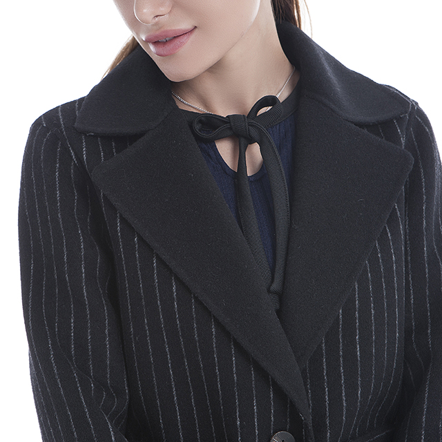 Striped black cashmere overcoat