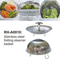 Plastic Handle Stainless Steel Folding Steamer Basket