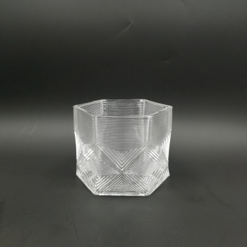 Embossed hexagon shape luxury glass jar with lid