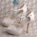 High Platform Lace Wedding Sandals T-strap