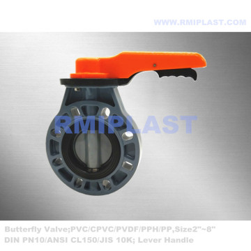 Plastic Butterfly Valve CPVC Body Wafer Type ANSI CL150