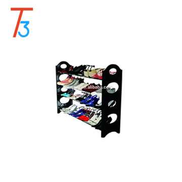 No tools required 4 tier stackable plastic shoe rack