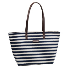 Vintage Stripe Ladies Cotton Canvas Beach Leather Handbag