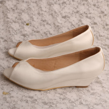 Ivory Wedding Wedges Peep Toe