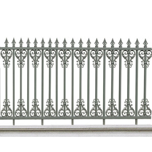 Grey Leaf Spear Aluminum Fence
