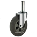 80mm threaded stem   European industrial rubber  swivel caster without  brake