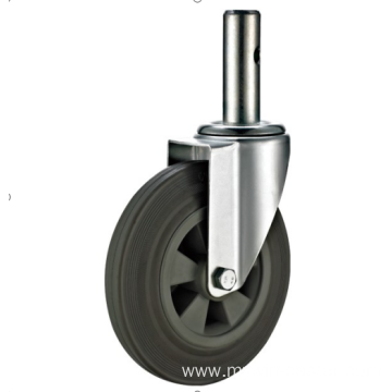 100mm threaded stem   European industrial rubber  swivel caster without  brake
