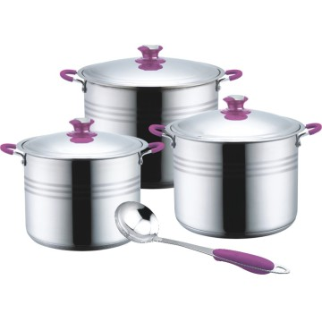 Soft touch 7pcs stainless steel stock pot