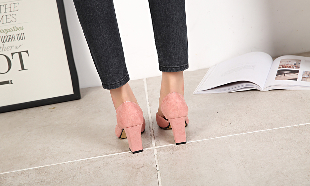 Suede Leather Chunky Pumps