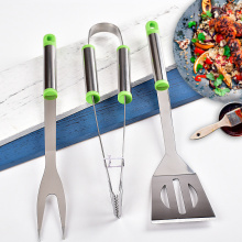 Green pp and stainless steel hanle bbq tools