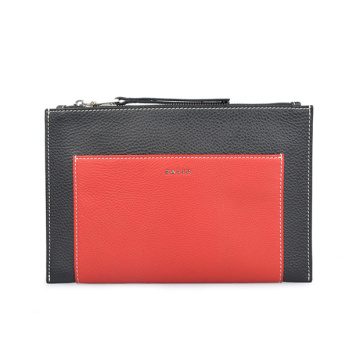 Makeup Bag Luxury Metallic Embossed Initials Leather Clutch