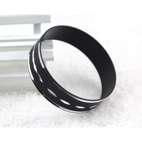 Black Aluminium Wide Bangles With Silver Engraved Pattern