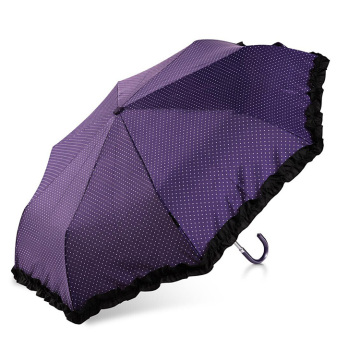 Fashional 3 folding woman beautiful dots umbrella