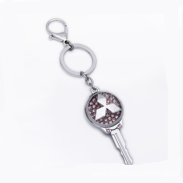Custom Made Metal Key Shape Keychain Rhinestone Key Rings