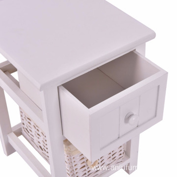 white modern wooden nightstand bedside cabinet drawer for living room