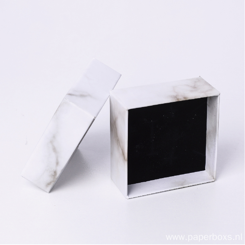 7x7x3cm White Paper Packaging Jewelry Marble Gift Box