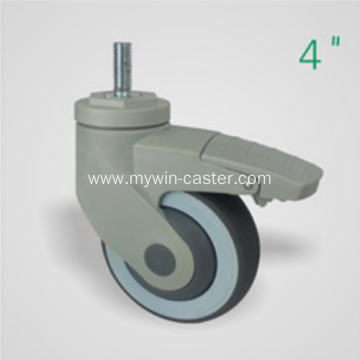 4 Inch Threaded Steam Swivel TPR PP Material With Bracket Medical Caster