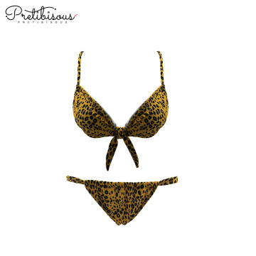 Womens swimwear knotted scoop bikini top and bottoms