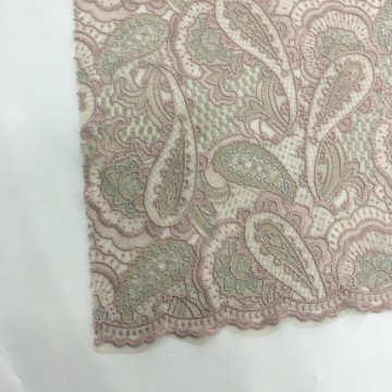 Paisley Variation Color Embroidery Fabric On Poly Mesh