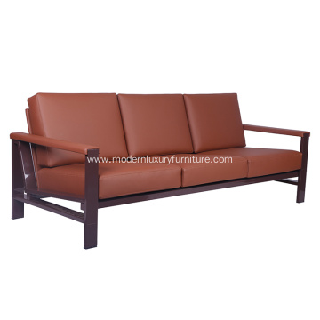 Strong Metal Frame Leather Sofa