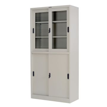 Up Glass Down Metal Cupboard