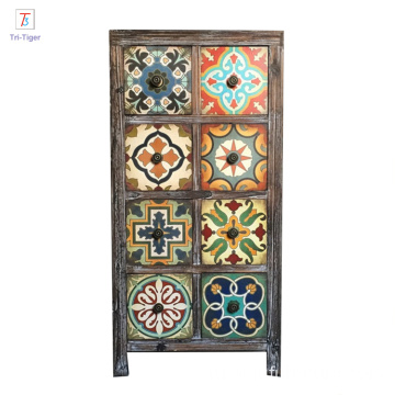 Vintage Antique Multicolor Distressed Wood Storage Cabinet