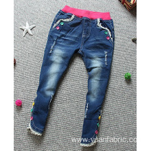 Waistband Denim Blended Children Pants Comfortable Jeans
