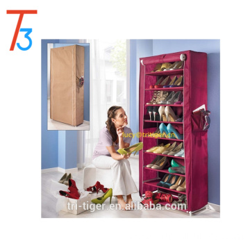 9-tier Shoe Organizer Cabinet Shoe Rack with Non-woven Secure Cover