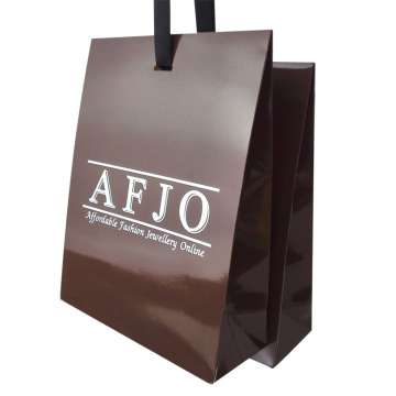 Dark Brown Glossy Laminated Custom Printing Paper Bag