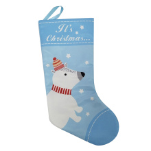 Printed white bear pattern christmas stocking