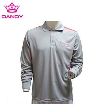 Mens Grey Long Sleeve Polo Shirt