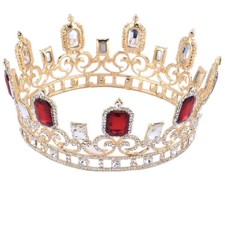 Large Red Rhinestones Bridal Tiara Queen Crown