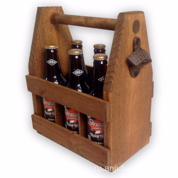 Handcrafted Wooden Beer Carrier Wood Six Pack beer caddy