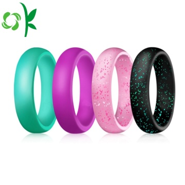 Unique Silicone Wedding-ring Round Powder Finger Ring