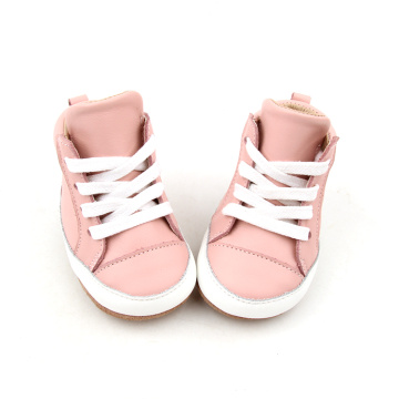 Pink High Top Leather Baby Dress Shoes
