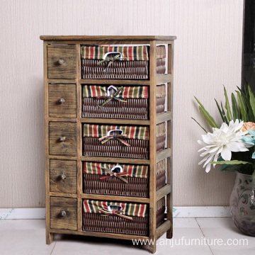 factory antique solid wooden cabinet with wicker drawer