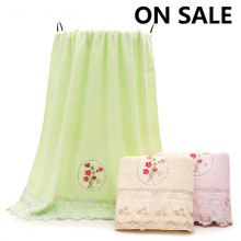 Bargain Price Stock Towels Edge Flower Bath Towels