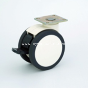 4 Inch Plate Swivel PU Material With Bracket Medical Caster