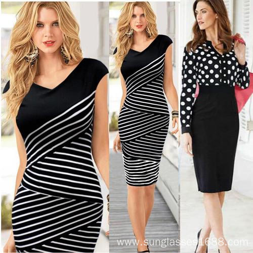 Fashion Stripes High Waist OL Work Slim Clothing