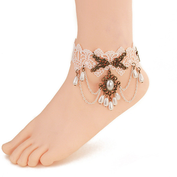 White Lace Anklet Bracelet With Drop Pearl