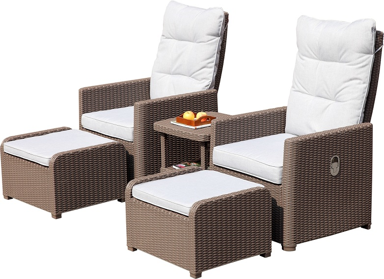 rattan adjustable back sofa set