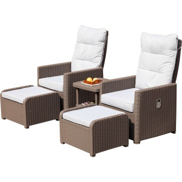 Round rattan adjustable back sofa set