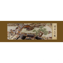 China for China Handmade Embroidery Painting,Celebration Famous Paintings,Collectible Gift Home Decoration,Hand Embroidered Landscape Painting Manufacturer Hand Embroidered Riverside Scene At Qingming Festival supply to East Timor Manufacturer