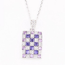Quality for JingLing Fashionable Collar Necklaces Women Jewelry Rhinestone And Alloy Materials Pretty Lady Necklaces Personalized Design Mixedcolor Fashion Women Square Pendant Necklace export to Pakistan Factory
