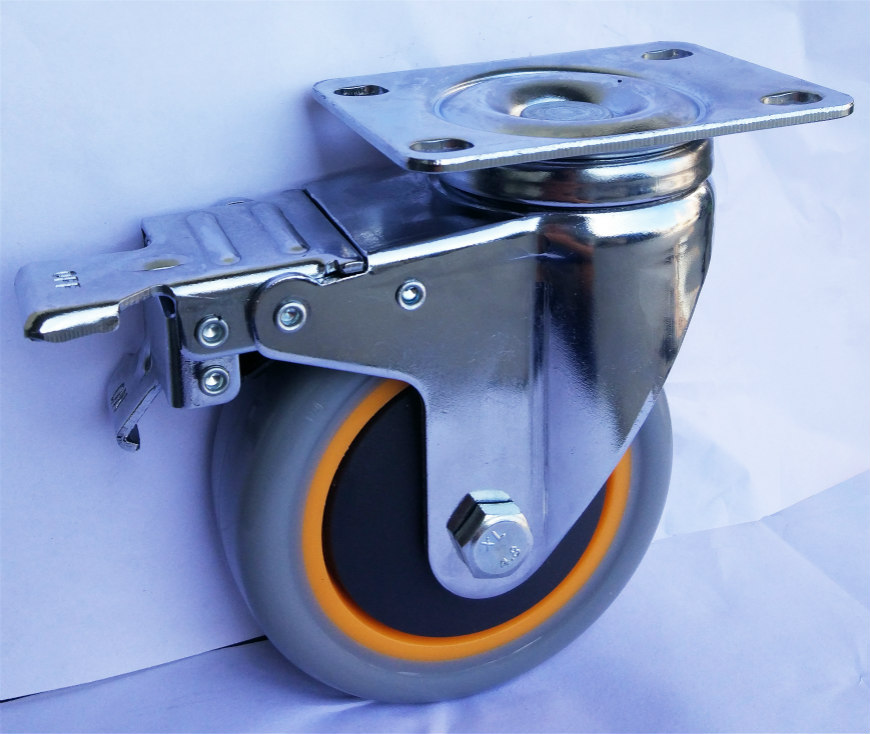 Medium Duty Total Brake Pvc Caster Wheel